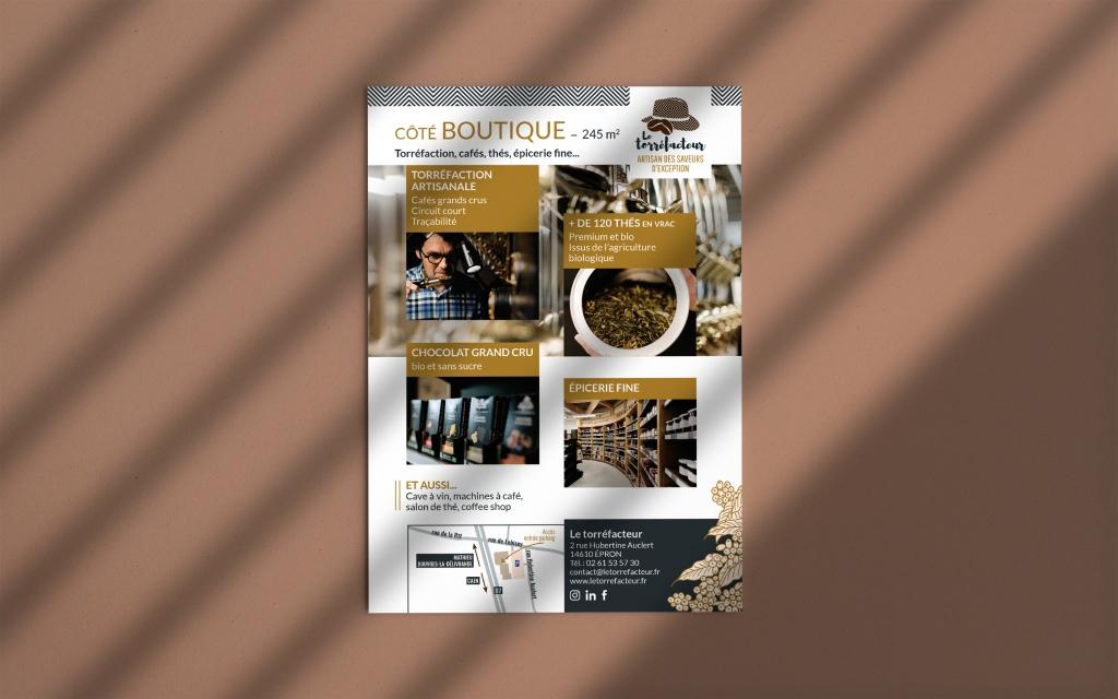 réalisation d'un flyer pour le torréfacteur, artisan des saveurs d'exception présentant sa boutique à epron dans le calvados